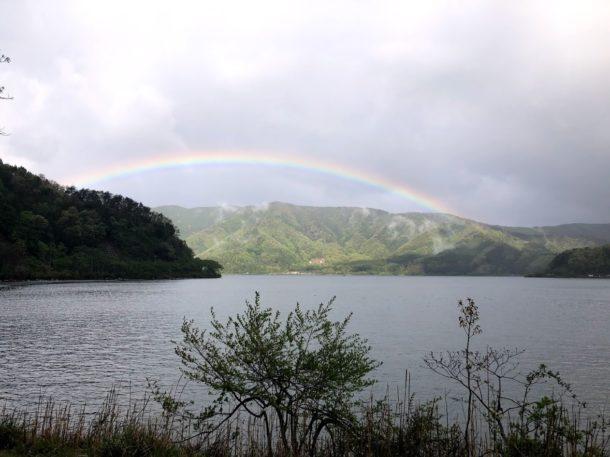 虹が出ていた