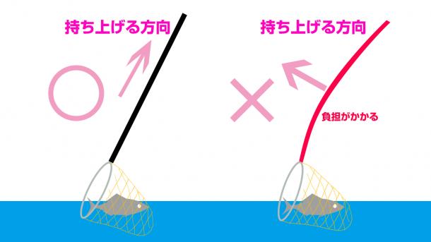 タモ網の使い方図